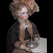 SWEET Vintage Sterling Silver Miniature Embossed Floral Powder Jar for Fashion Dolls!