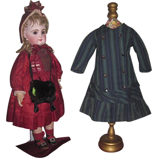 AUTHENTIC Antique French Couture Wool Striped Doll Coat Dress for BRU or JUMEAU Bebe!