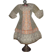 EXQUISITE French Couture Sage Green Moire Silk & Lace Doll Dress for BRU or JUMEAU Bebe!