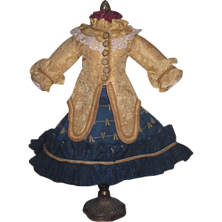 MAGNIFICENT Two Piece Silk & Tafetta French Couture Doll Ensemble for BRU or JUMEAU Bebe!