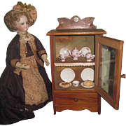 CHARMING All Original Antique Wooden Miniature Doll Cupboard FULLY ACCESSORIZED!