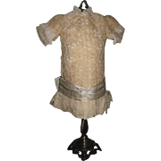 FANCY Vintage Ruched Silk & Lace French Bebe Doll Dress!
