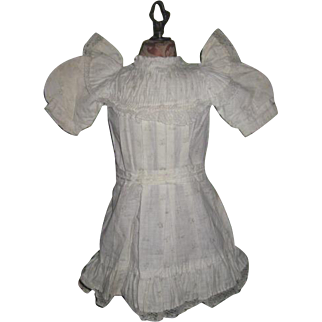 FACTORY ORIGINAL Authentic Antique French Jumeau Blue Floral White Cotton Doll Dress!