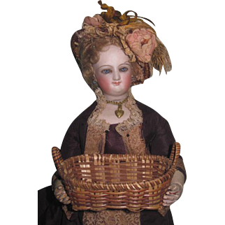 EXCEPTIONAL Antique Miniature Handled Wicker Basket for FRENCH FASHION Dolls!