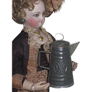 CHARMING Hard to Find Antique Miniature Pierced Tin Coffee Pot~FASHION DOLL Size!