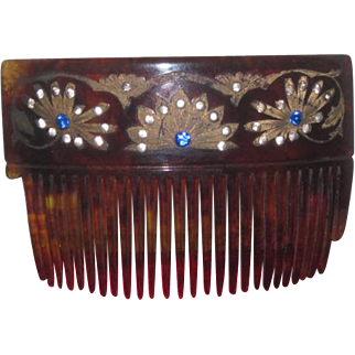 DRAMATIC Art Deco Jeweled Rhinestone Lady's Hair Comb for LARGER DOLL!
