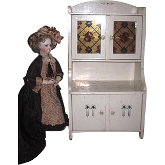 RARE Larger Scale Antique Miniature Painted German Doll Step Back Cupboard with Original STAINED GLASS Doors!