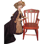 CHARMING Antique Red Painted & Stenciled Wooden Doll Chair with DIE CUTS!