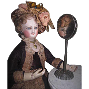CHARMING Antique German Tin Miniature Table Shaving Mirror for FASHION DOLLS!
