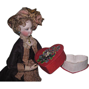CHARMING HTF Vintage Miniature Red Silk Candy Container Heart for FASHION DOLLS!