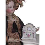 FANCY Vintage Miniature Toy Porcelain Mantel Clock for FASHION DOLLS!