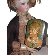 CHARMING Rare Antique Paper Mache Miniature Portrait Snuff Box for FASHION DOLLS!