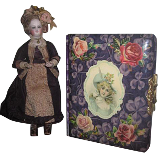 CHARMING Antique Victorian Celluloid/Velveteen Fancy Photograph Album with CHILD MOTIF~Great for Doll Pictures!