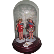 "SWEETEST Pair of Factory Original 4"" Painted All Bisque Boy/Girl Twin Dolls with GLASS DOME!"