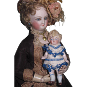 "CHARMING Antique German All Original 4"" All Bisque Dollhouse Doll!"