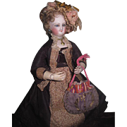 AUTHENTIC Early Antique French Fashion Doll Fancy Drawstring Purse!