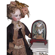 CHARMING Vintage Miniature Glass Bird Vignette for FASHION DOLL Display!