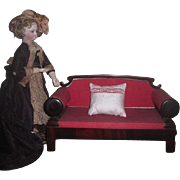 MAGNIFICENT Rare Early Antique Empire Style French Fashion Doll Settee/Sofa!