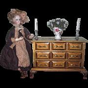 ELABORATE Vintage Miniature Hand Painted Miniature Florentine Chest for FASHION DOLLS!