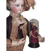 TINY One-of-a-Kind Vintage Wooden Artist Miniature French Fashion Doll with Glass Dome!