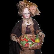 FABULOUS Miniature Vintage Set of Hand Painted Porcelain Fruits & Vegetables in Antique Wicker Basket!