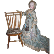 CHARMING and FANCY Miniature Vintage Pegged Wooden French Fashion Doll Chair with Silk Brocade Seat!