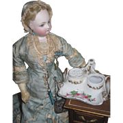 CHARMING Antique Miniature French Hand Painted Porcelain Inkwell for Dolls~AS FOUND!