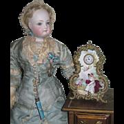MAGNIFICENT Rare Antique Miniature Austrian Enameled Clock for FASHION DOLLS!