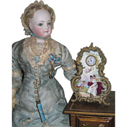 MAGNIFICENT Rare Antique Miniature Austrian Enameled Clock for FASHION DOLLS!