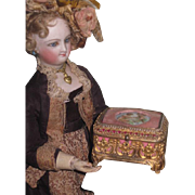 EXQUISITE and TINY Antique Miniature Ormolu Trinket Box with Painted Cherubs for your FASHION DOLL!