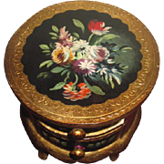 GORGEOUS Vintage Miniature Hand Painted Floral Occasional Table for FASHION DOLLS!