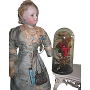 SWEET Rare Diminutive Antique Miniature Victorian Dome with Wax Flowers for FASHION DOLL Display!