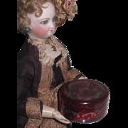 BEAUTIFUL Antique Miniature Bohemian Ruby Glass Powder Jar for ANTIQUE DOLLS!