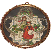 CHARMING Framed Antique Victorian Christmas Die-Cut Scrap with CHILD MOTIF!