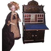 VERY RARE Magnificent Grand Scale Antique Waltershausen Biedermeier Miniature Drop Front Secretary Desk!