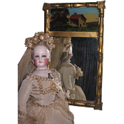 MAGNIFICENT and RARE Antique Miniature Gilded Mirror with Reverse Painting for your FASHION DOLL!