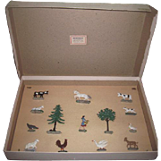 RARE Antique Original Boxed Set of Miniature Enameled Cast Iron Farm Figurines~STORE STOCK Condition!