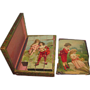 SWEET Antique German Boxed Lithographed Wood Block Puzzle Set Featuring Children!