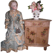CHARMING Vintage Shabby Chic Miniature Floral Corner Cabinet For Fashion Dolls!
