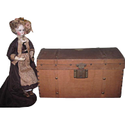 CHARMING Hard to Find Antique French Fashion Doll Canvas Trunk for Her Trousseau!