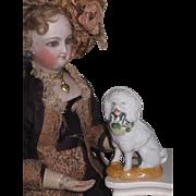 CHARMING Antique Miniature Porcelain C.D. Kenny Advertising Poodle Dog!