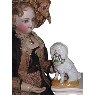 CHARMING Antique Miniature Porcelain C.D. Kenny Advertising Poodle Dog!