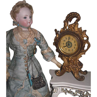 ORNATE Antique Miniature Gilded Metal Mantel Clock for FASHION DOLLS!