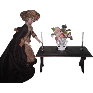 RARE Antique French Miniature Brittany Folding Library Table for FASHION DOLLS!