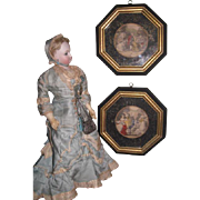 CHARMING Pair of Vintage Miniature Framed French Courtesan Lithograph Prints!