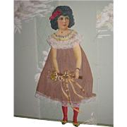 "CHARMING Large 11"" Antique German Die Cut Paper Doll with Accessories!"