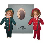 "FABULOUS HTF Pair of Vintage 8"" Sandra Sue Skier Dolls with Marked BOX LID!"