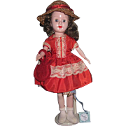 """RARE Vintage All Original 8"""" Richwood Toys Sandra Sue Doll in Red Taffeta with Accessories and HANGTAG!"""