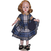 "HTF Vintage All Original 8"" Richwood Toys Sandra Sue Doll in Blue Plaid Taffeta with PURSE!"