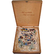 AMAZING Hard to Find Twenty-Nine Piece Boxed Set of Antique German Miniature Enameled Cast Iron Winter Figurines for HOLIDAY DISPLAY!